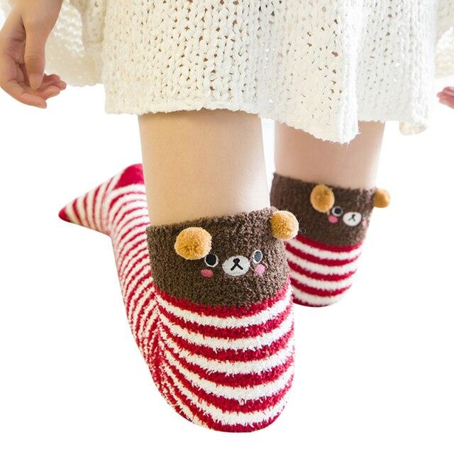 5884b70d0d8 Sweet Cute Girl Animal Modeling Socks Lovely Women Velvet Warm Cozy Long  Thigh High Socks Kawaii Compression Thick Knee Sock