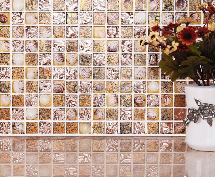 Gold foil Glass Natural Shell mosaic tiles design,Glass conch tile kitchen backsplash bathroom wall deco mosaic Art Shell,LSBK54