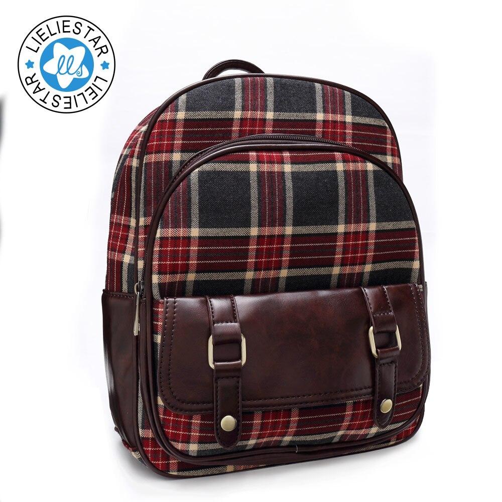 2017 women small backpack plaid schoolbag feminine canvas printing sac a dos school bags for girls
