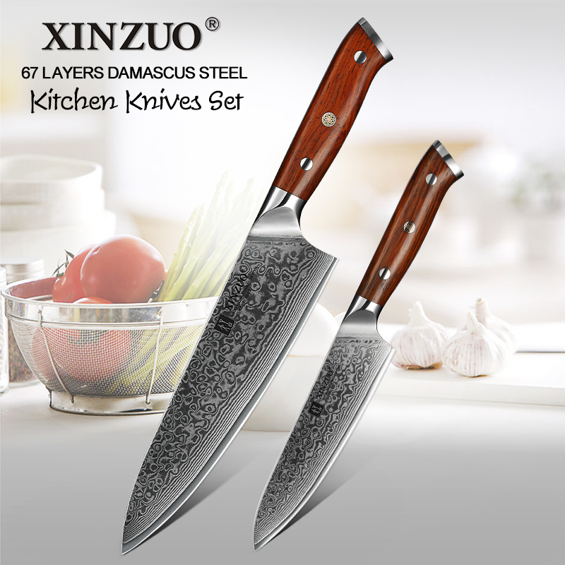 XINZUO 2 PCS Kitchen Knife Set Damascus Steel Chef Cutter Pro Utility Knives Stainless Steel Sharp