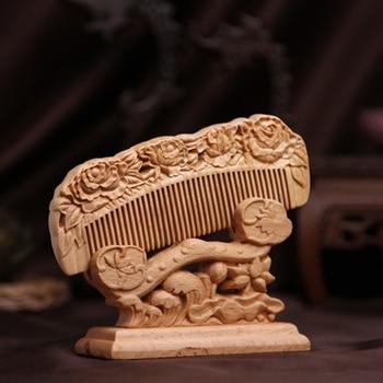 Geschnitzte Tasche Holzkamm Natürliche Pfirsich Holz Antistatische Massage  Health Care Kämme Vintage Haar Pinsel Combs Haar