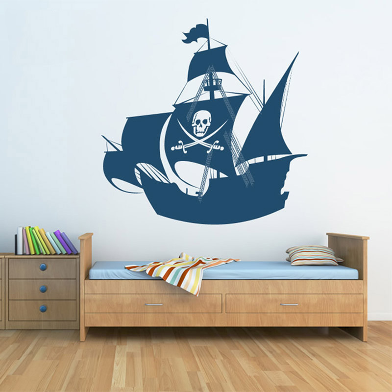Hot Sale Pirate Ship Wall Sticker for Kids Room Wall Sticker Children s Wall Decal Art