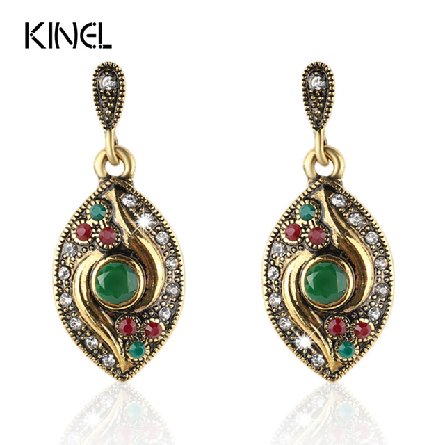 2015 Vintage Earrings For Women   Gold Fashion Earrings AAA Resin Long Big Drop Dangle Earring Indian Jewelry