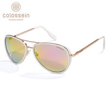 COLOSSEIN Sunglasses Women Vintage Pilot Blue Retro Gradient Sun Glasses Golden Metal Alloy Frame Men Oculos Gafas De Sol UV400