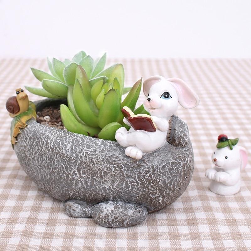 1pc Animal Resin Decorative Succulent Planter Mini