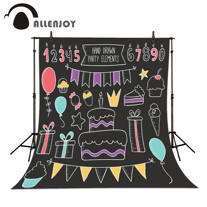 Allenjoy Birthday Party Photography Background Hand Cake Gift Blackboard Hand drawn Chalkboard Celebration photo backdrops 2016 new arrival 100% white duck down goose feather filler bed mat 100% cotton double layers mattres with different sizes