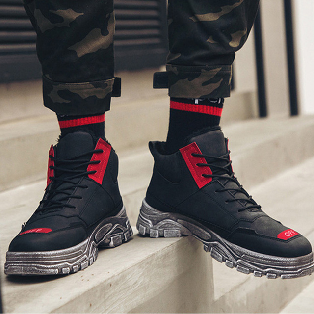 Off Letter Men Flock Ankle Boots Vintage Lace Up High Top Sneakers Winter Warm Plush Martin Boots Casual Outdoor Snow Boots