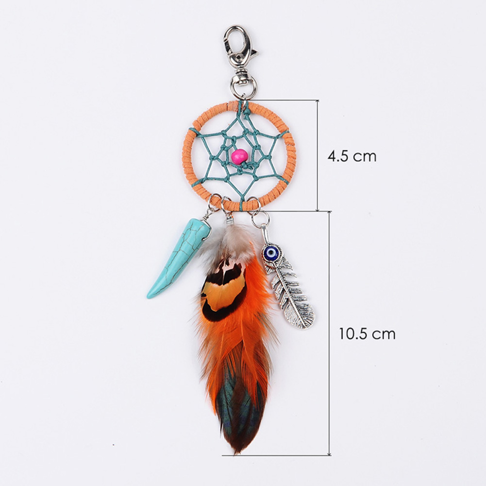 1x Orange Dreamcatcher Turquoise Feather Charm Keyring Keychain Key Fob