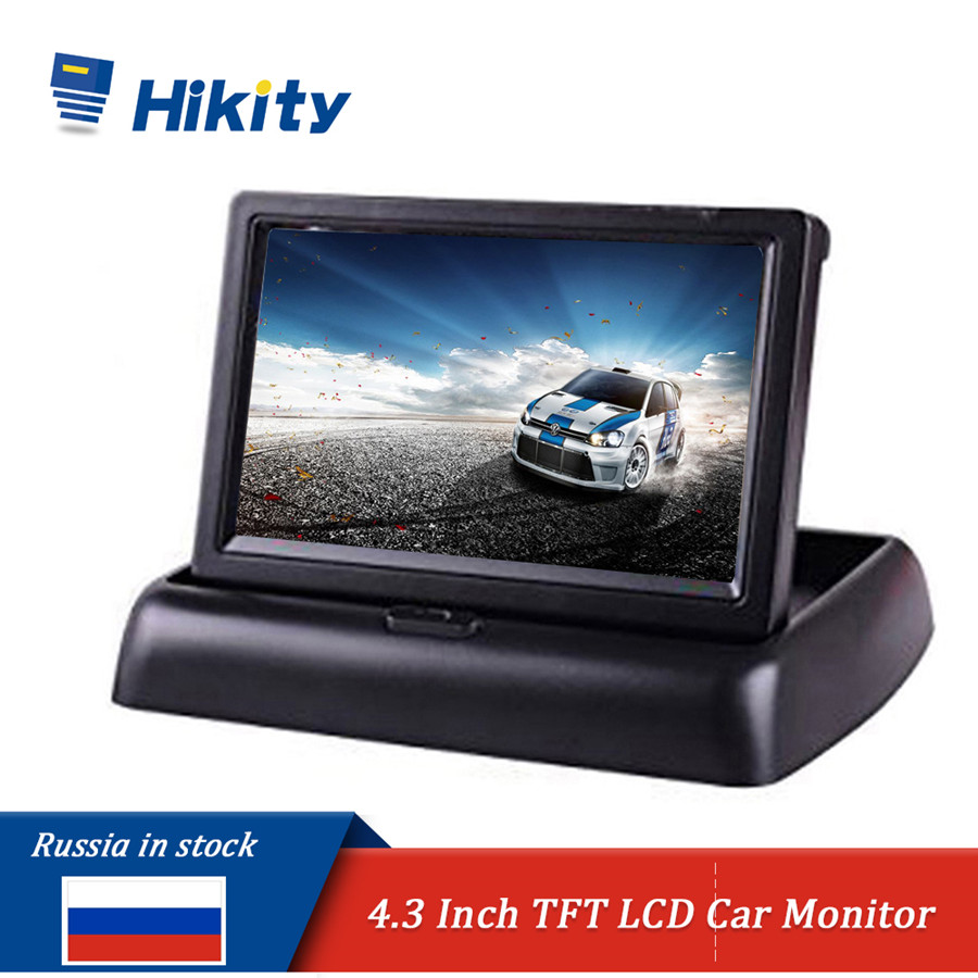 "Hikity Car Monitor 4.3"" Display For Rear View Camera Foldable Color TFT LCD Display Video PAL/NTSC Auto Parking Rearview Backup(China)"
