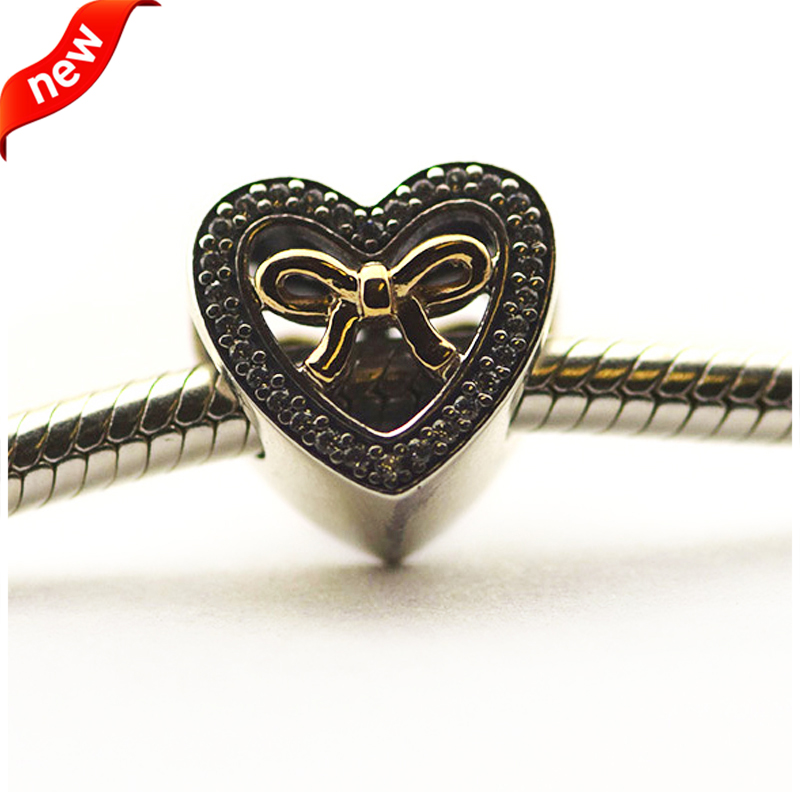 Fits for Pandora Bracelets Bound By Love Charms with 14K Real Gold 100% 925 Sterling Silver Beads Free Shipping