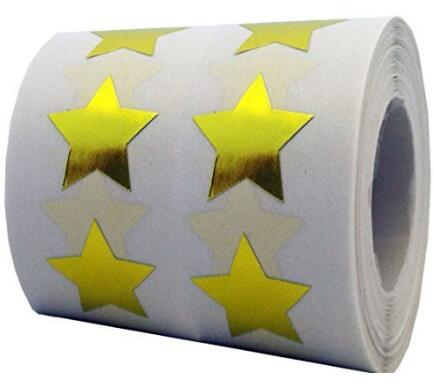 "Gold Star Shape Stickers 3/4"" Inch 500 Per Roll Shiny Metallic Foil Teacher Supplies"