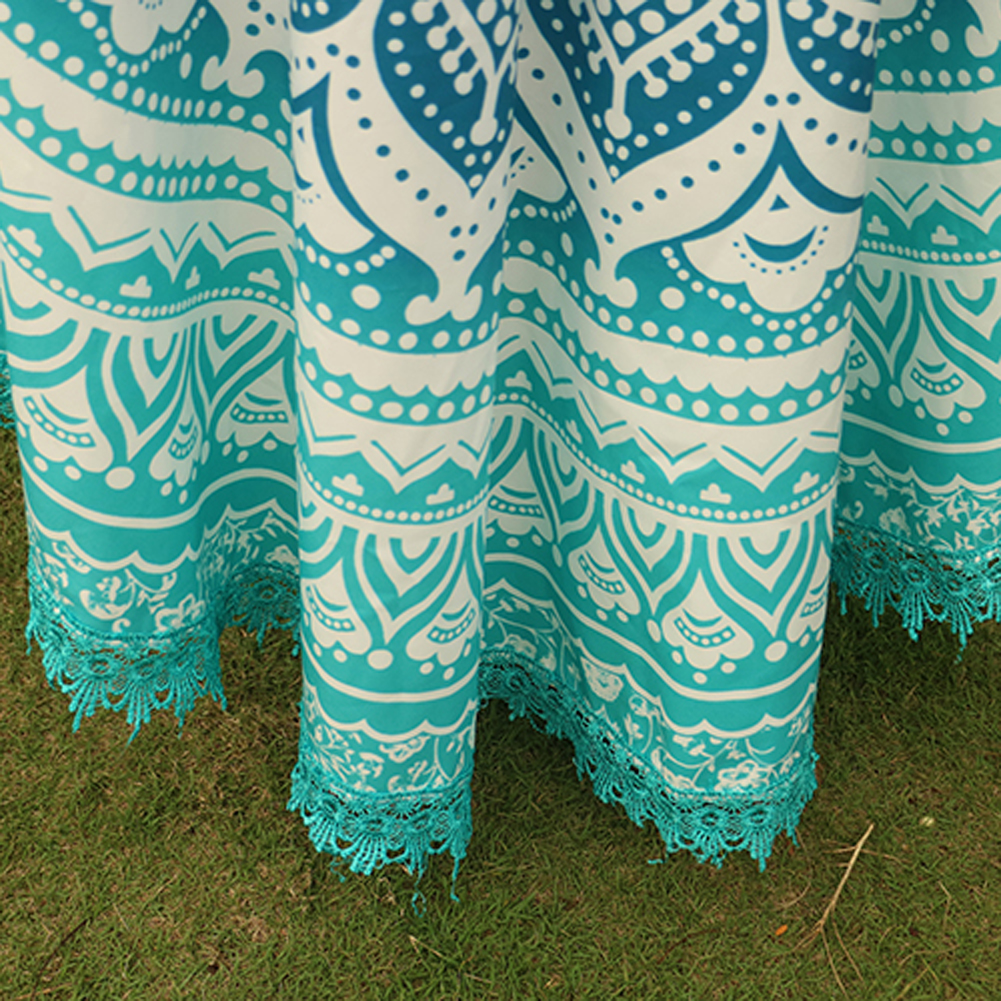 Handmade Summer Beach Towels Floral Printed Lace Tassels Round Blanket Bath Towel Swim Cover-ups High water absorbent Yoga Mat 12