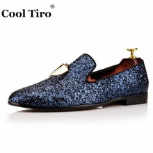 COOL TIRO new Blue sequins Small pepper fashion Genuine Leather party  wedding loafers men dress Smoking 1cb968bab803