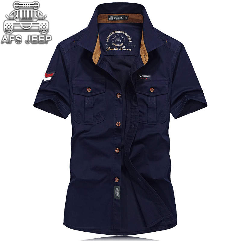 Brand AFS JEEP Cotton  Casual Shirts Men New 2018 Short Sleeve Loose Army Military Tooling Pockets Breathable High Quality Shirt