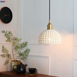 Image 5 - Подвесные светильники IWHD в скандинавском японском стиле, лампы для столовой, гостиной, винтажные Винтажные белые керамические подвесные лампы из меди