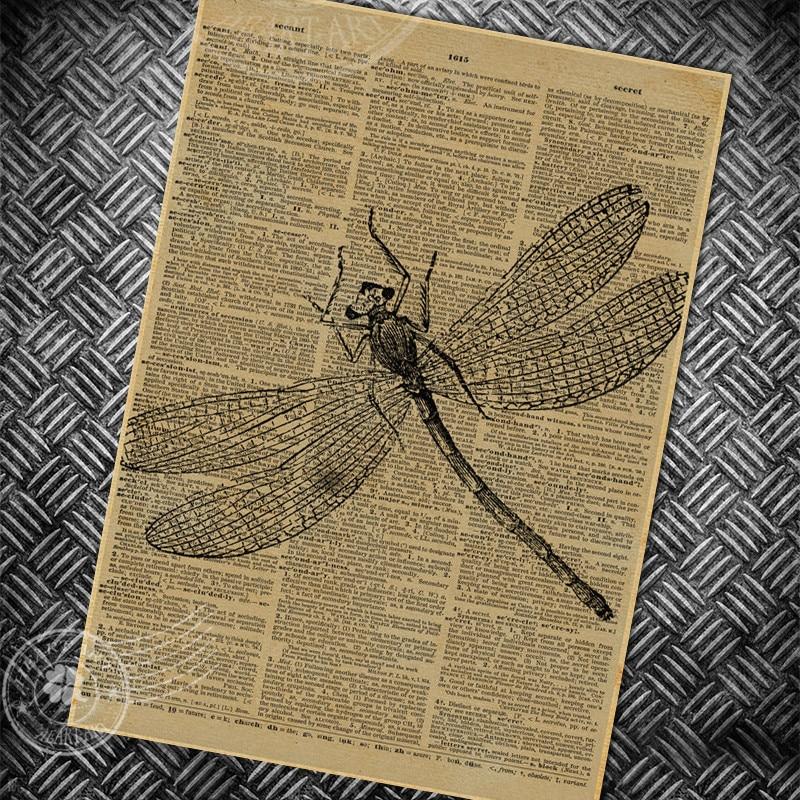 Vintage Poster Retro Eski Boyama Dragonfly Soyut Gazete Sayfa Bar