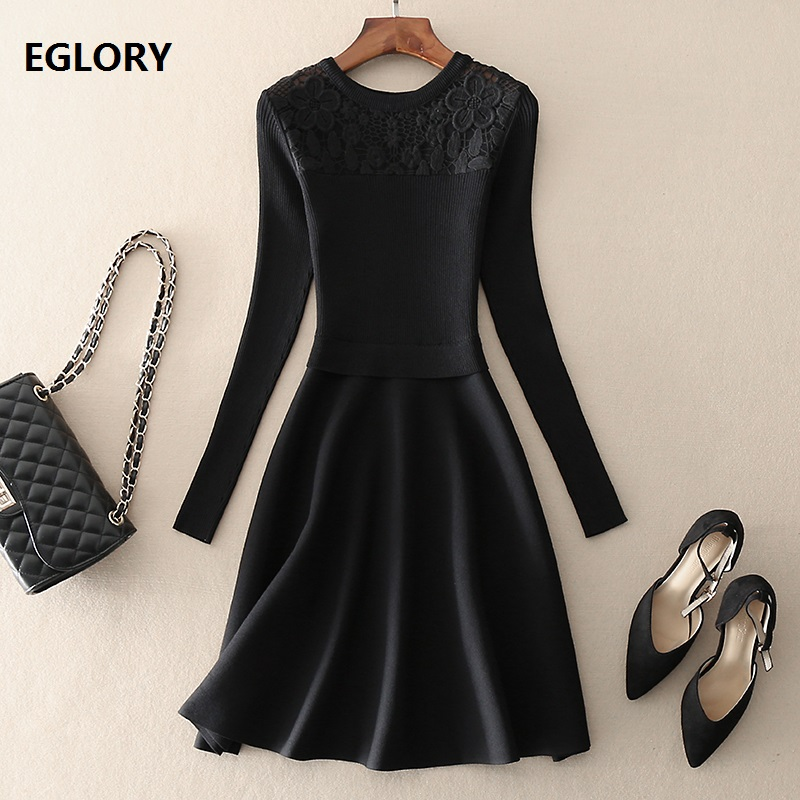 Top Quality Brand New 2018 Autumn Winter Knitted Sweater Dress Women Hollow Out Embroidery Patchwork Long Sleeve Black Dress