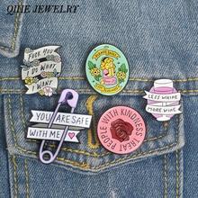 Joyería qihe cita colección de pins chica feminista poder amabilidad vino amante inspiracional encantador broche con insignia esmaltada broches