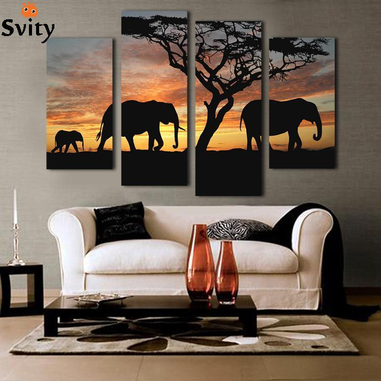 5 Ppcs Sunset Elephant Painting Canvas Wall Art Picture