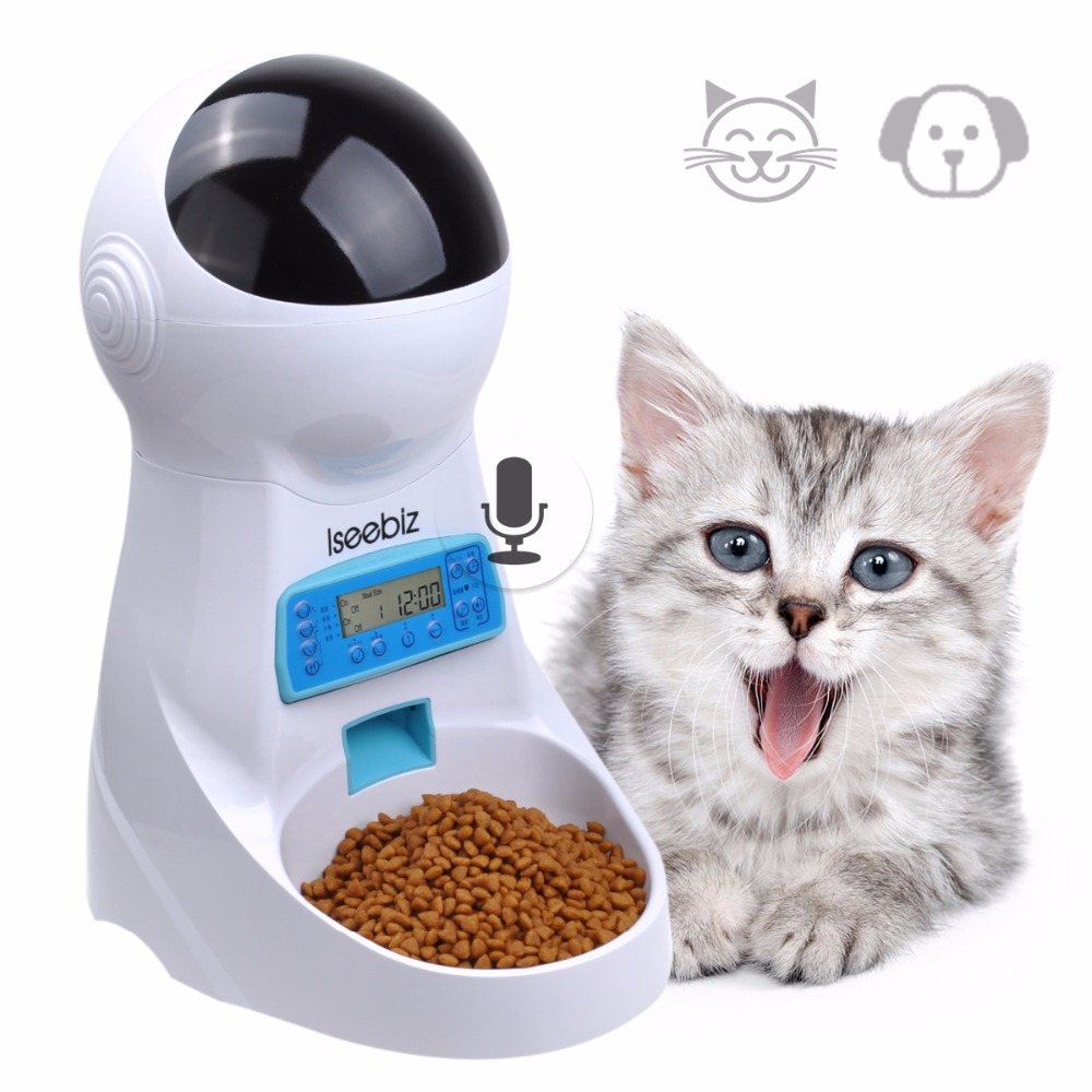 3L Automático Comedouro Para Animais de Estimação Com a Gravação De Voz Animais de Estimação Tigela de comida Para Cão Pequeno Médio Gato Tela LCD Dispensadores 4 vezes Um Dia