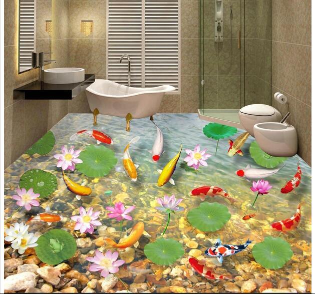 3d pvc flooring custom mural Self adhesive waterproof  floor  water carp stone painting picture photo wallpaper for walls 3d