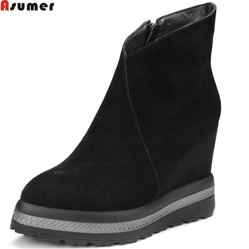 ASUMER black size 42 platform spring autumn new shoes woman boots wedges zipper suede leather high heels ankle boots