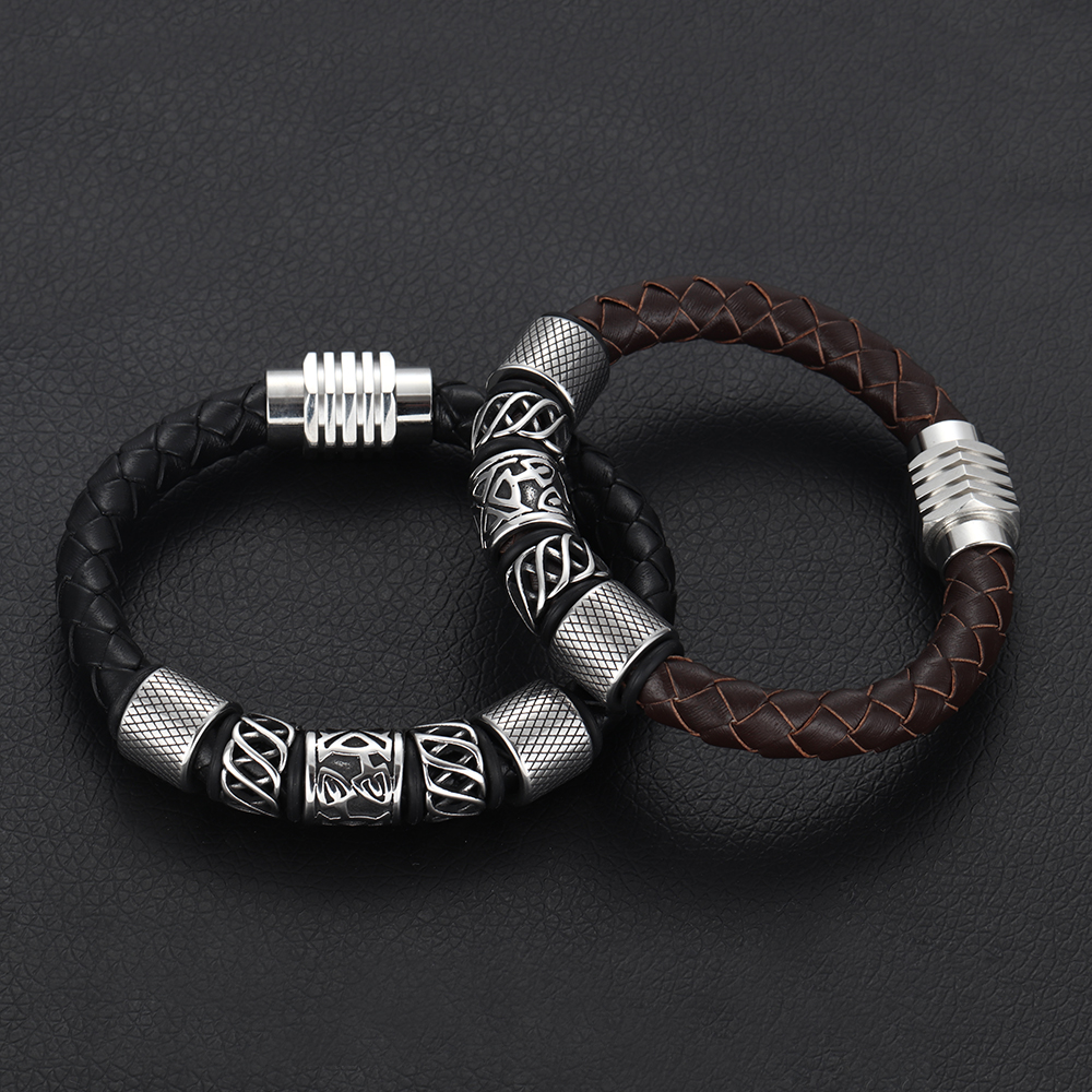 Trendy Men Brown Black Woven Leather Bracelet with 316L Stainless Steel Viking Beads Man Magnet Clasp Braided Bangle Jewelry in Charm Bracelets from Jewelry Accessories