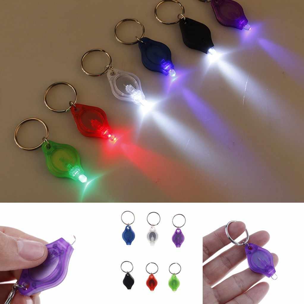 2019 Mới 6 Màu Sắc Đèn Pin LED Mini Móc Khóa Di Động Ngoài Trời Móc Khóa Ánh Sáng Đèn Pin Móc Khóa Khẩn Cấp Đèn Cắm Trại Ánh Sáng