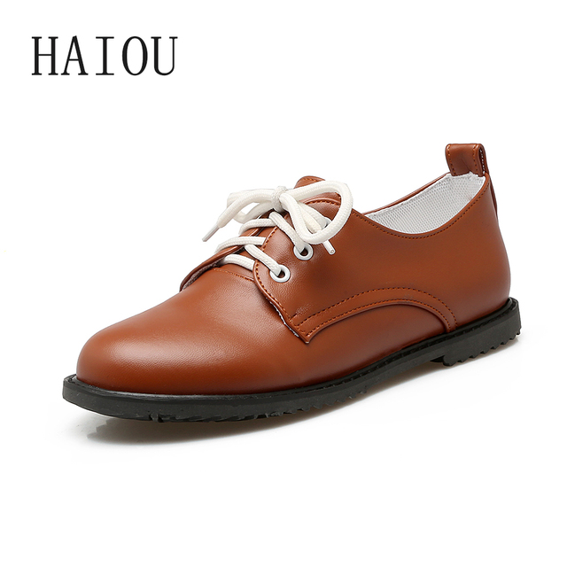f2b2a592885 2017 Fashion Leather Women Shoes Flat Shoes Black Brown Casual Lace Up Loafers  Ladies Sewing Top Quality Ladies Loafers Round