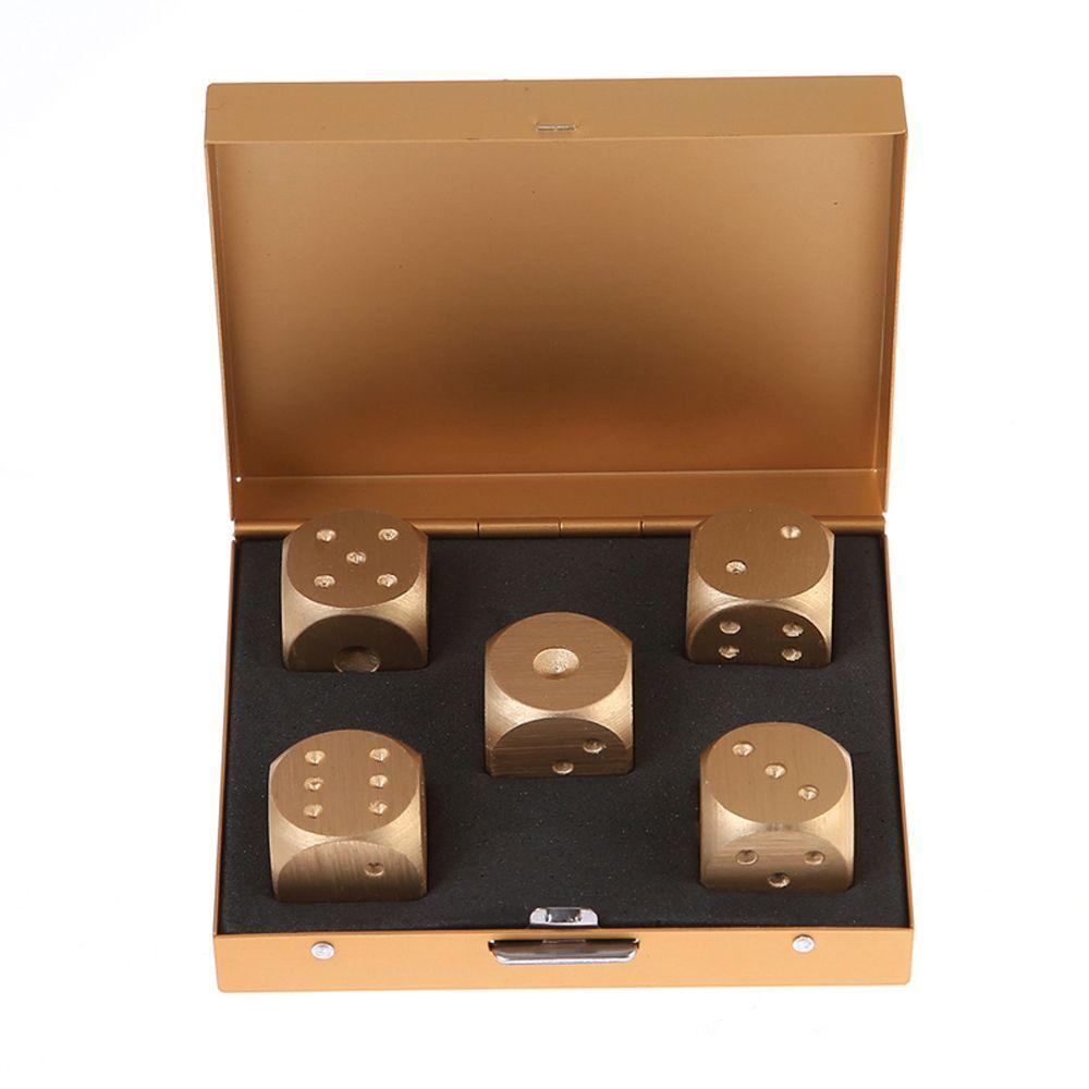 5 uds dados y caja de dados de juegos para adultos aleación de aluminio Poker dados juego adulto de la familia juego de magia de juegos para los niños
