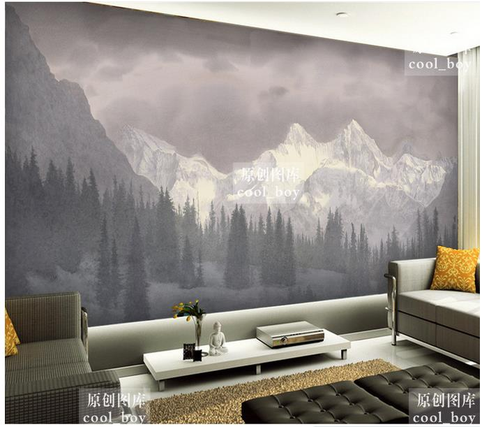 Customized 3d photo wallpaper for walls 3 d wall murals Snow mountain giant pine forest landscape setting wall murals home decor in Wallpapers from Home Improvement