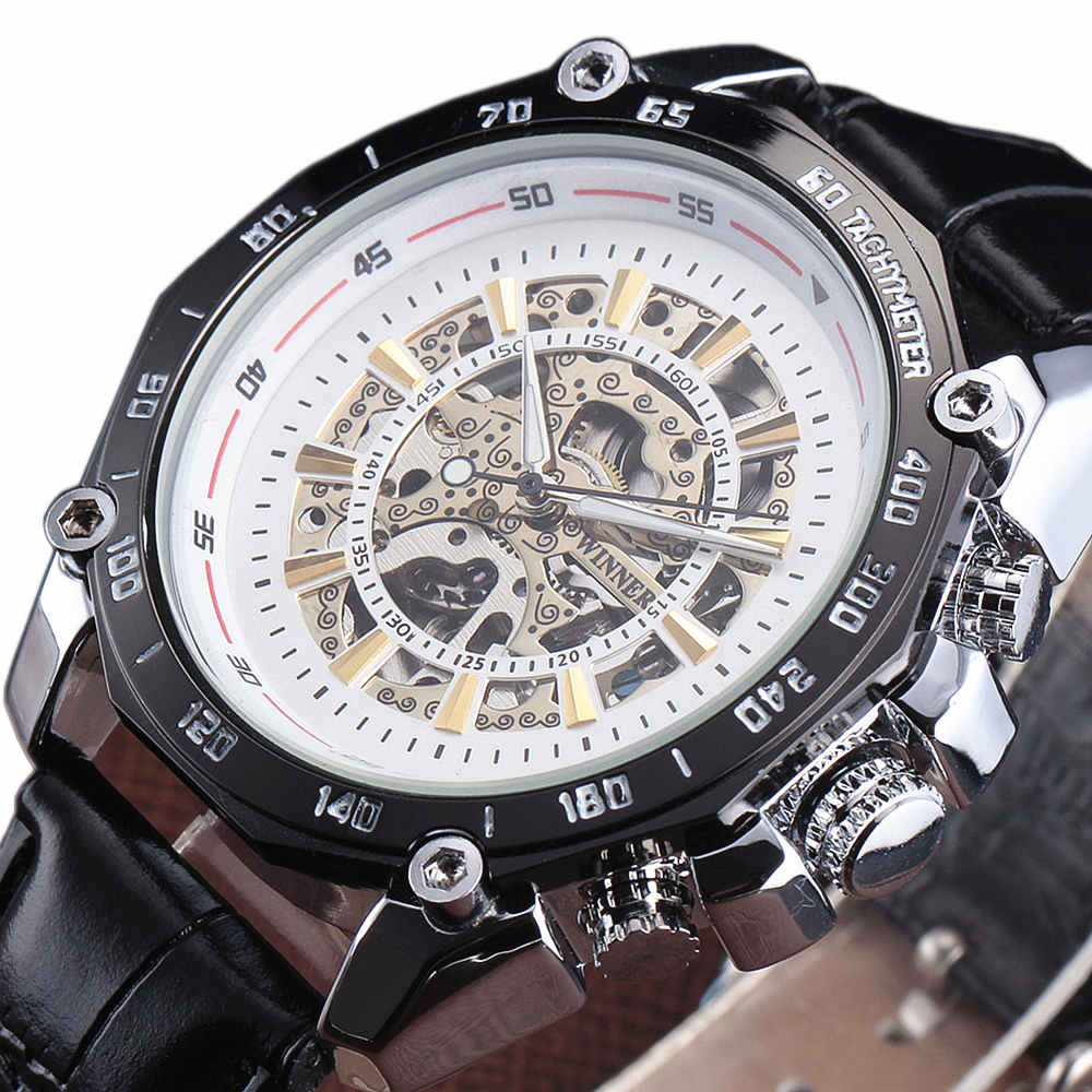 Top Brand WINNER Leather Strap Men Automatic Self-Wind Chronograph Clock Tungsten Steel Case Skeleton Male Gift Mechanical Watch royal carving ks rose gold skeleton automatic self wind wristwatch male fashion clock leather strap mechanical watch gift ks294