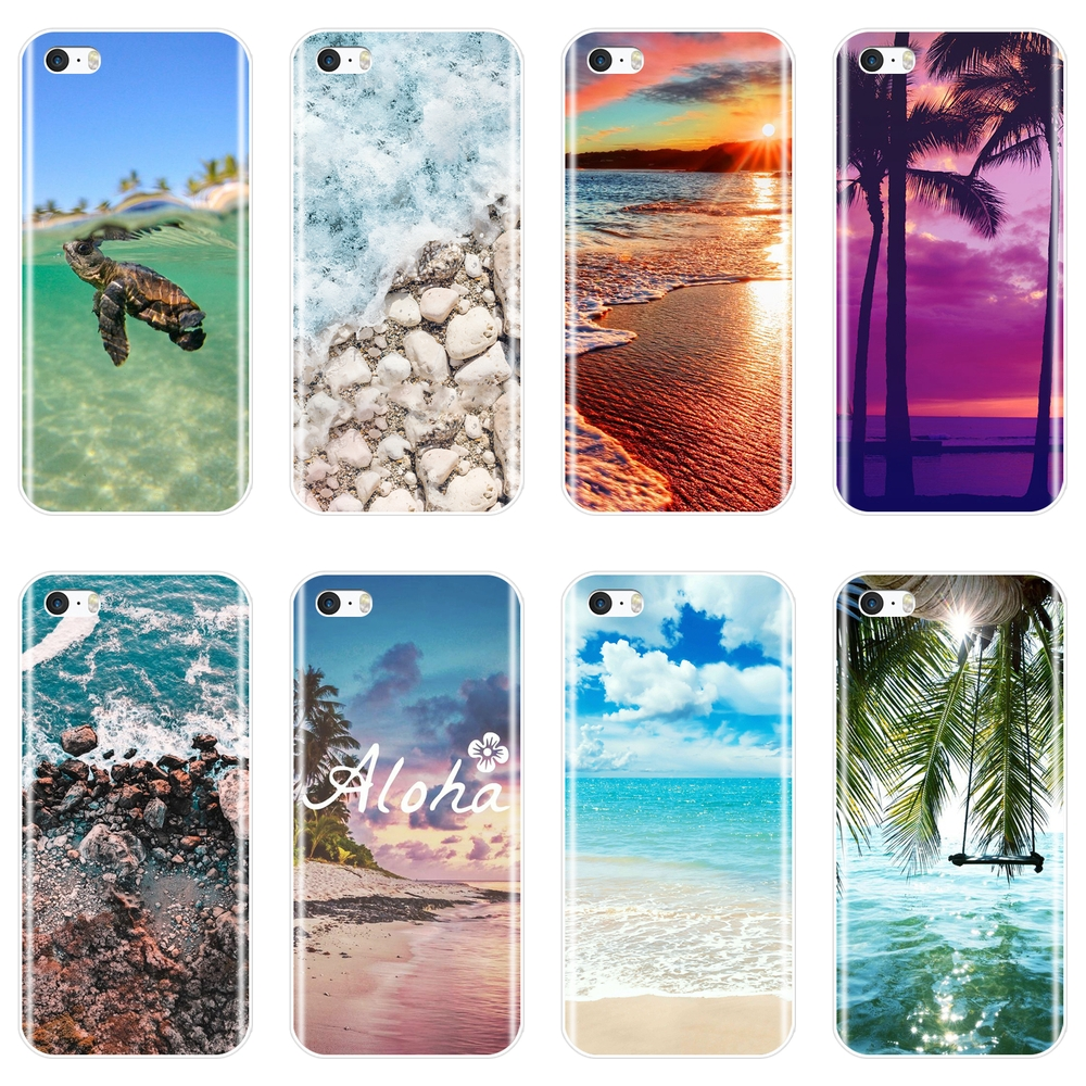 Back Cover For Iphone 4 4s 5 5c 5s Se Beach Turtle Ocean