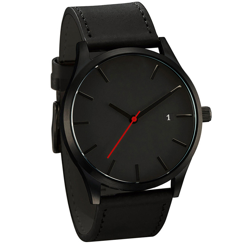 цена Men Watch Creative Minimalistic Watches For Men Black Watches Leather Clock Relojes erkek kol saati relogio masculino Watch Men