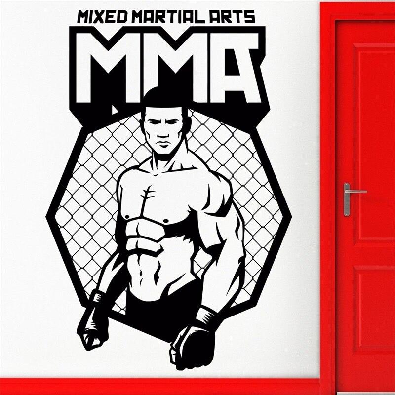 Autoadesivi della parete Del Vinile Della Decalcomania MMA UFC Cage Fighter Uomo Lotta Freddo Decor