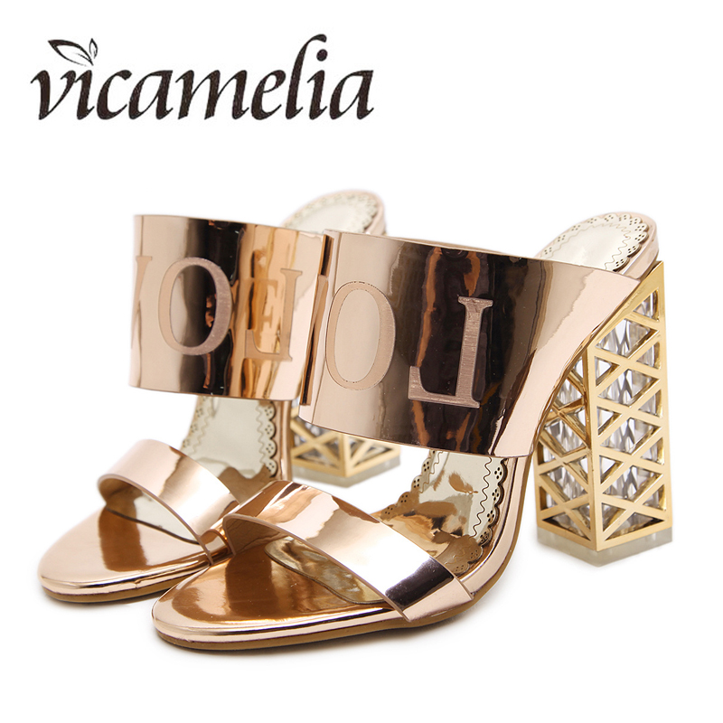 Newest Crystal Prevalent Sandals High-heeled Fashion Hollow Women Slippers Chunky Transparent Heel Vicamelia 050