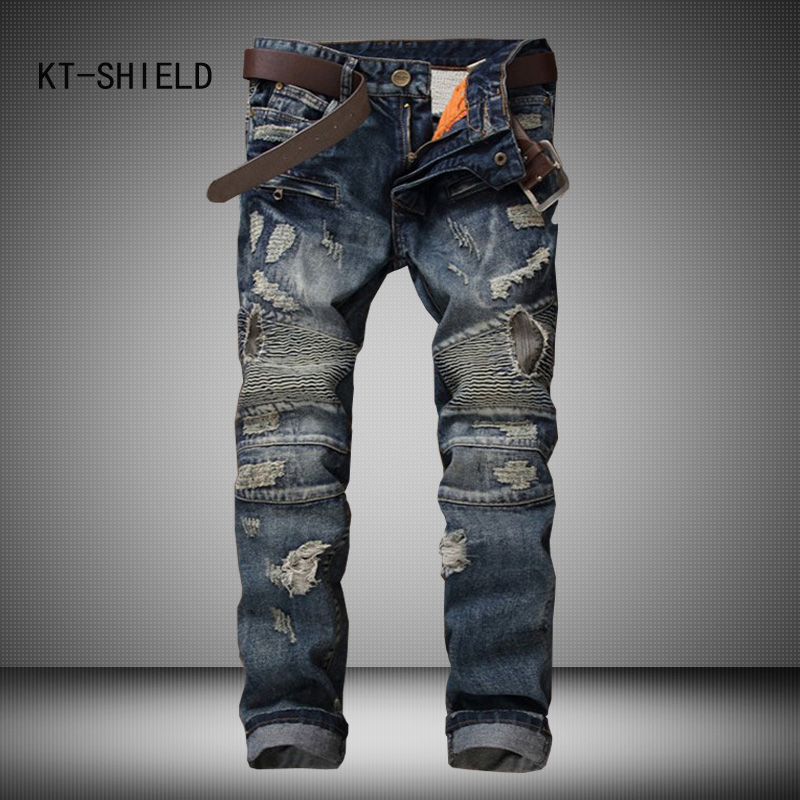 famous brand Personality Patchwork Jeans Men  Fashion Brand Scratched Biker Jeans Ripped Denim Straight Slim Fit Casual Pants 2017 fashion patch jeans men slim straight denim jeans ripped trousers new famous brand biker jeans logo mens zipper jeans 604