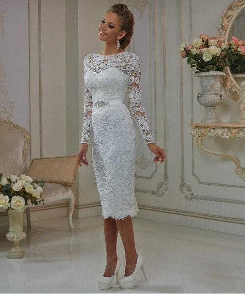 New long sleeve vintage tea length lace wedding dresses for Short beaded wedding dress