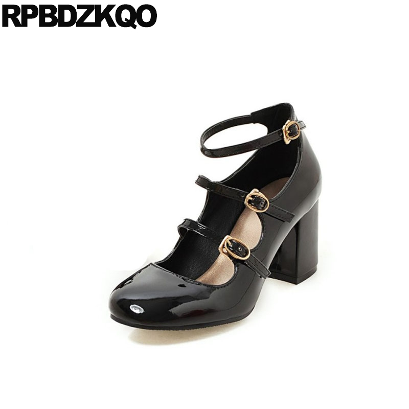 Pumps High Heels Ankle Strap Strappy 11 43 Plus Size Round Toe Black 4 34 10 42 Thick Patent Leather 2018 3 Inch Party Shoes RedPumps High Heels Ankle Strap Strappy 11 43 Plus Size Round Toe Black 4 34 10 42 Thick Patent Leather 2018 3 Inch Party Shoes Red