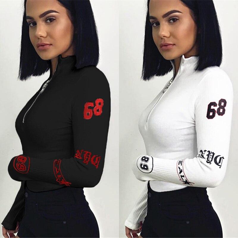 Realpopu Turtleneck Long Sleeve Sexy Bodysuit Women Zipper Bodycon Skinny Printed Warm Shirt Romper Elegant Autumn Jumpsuit