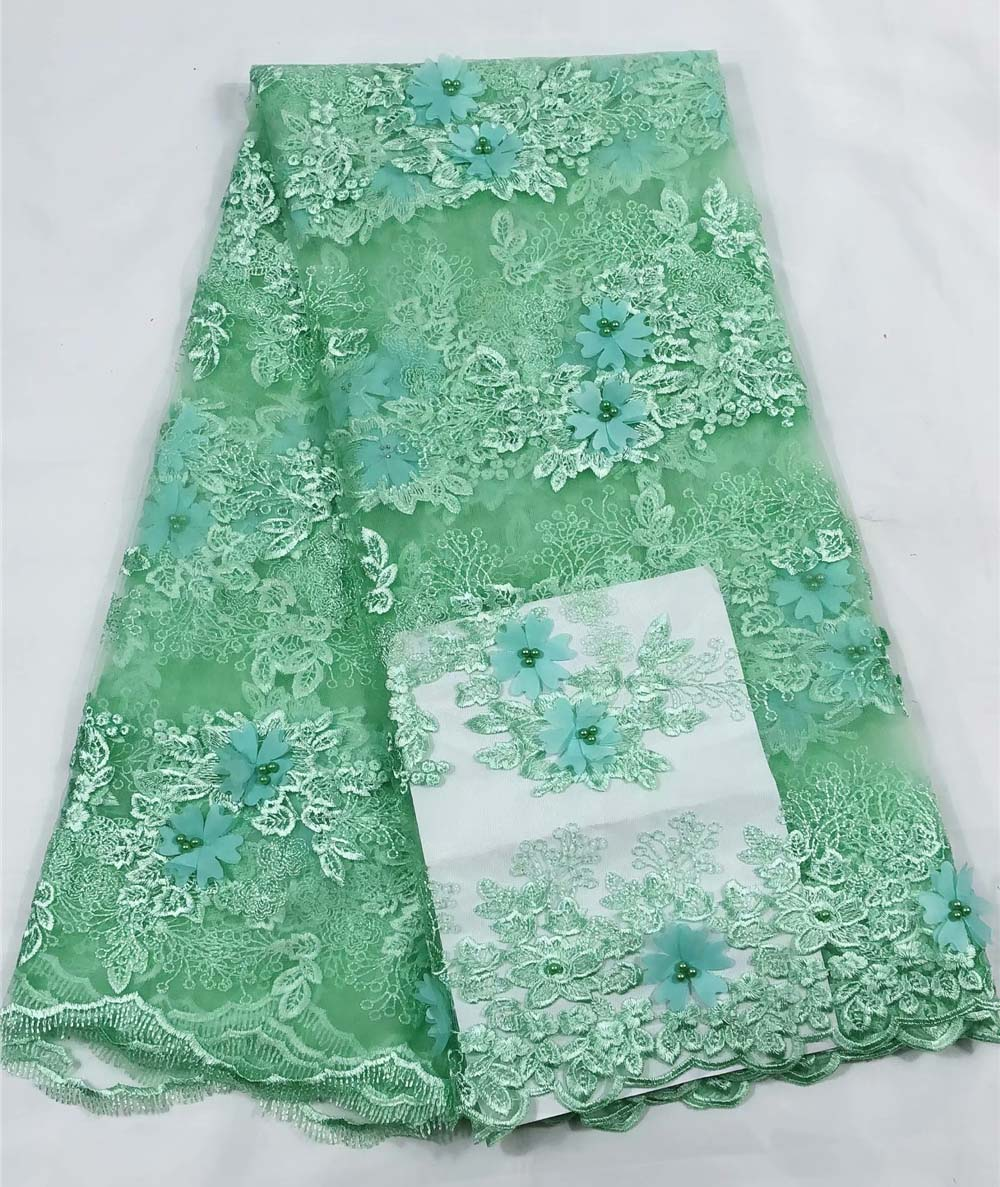 Beautiful green 3D Lace Fabric With Beads 3D Flower Embroidered Lace Appliques French Tulle Lace Fabric 5 Yards For DressBeautiful green 3D Lace Fabric With Beads 3D Flower Embroidered Lace Appliques French Tulle Lace Fabric 5 Yards For Dress