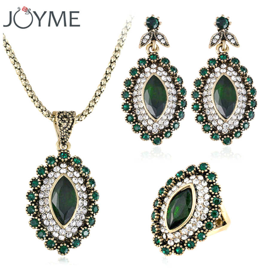 Turkey Vintage Wedding Turkish Jewelry Earrings And Necklace For Women Green African Beads Crystal jewelery Sets decoration