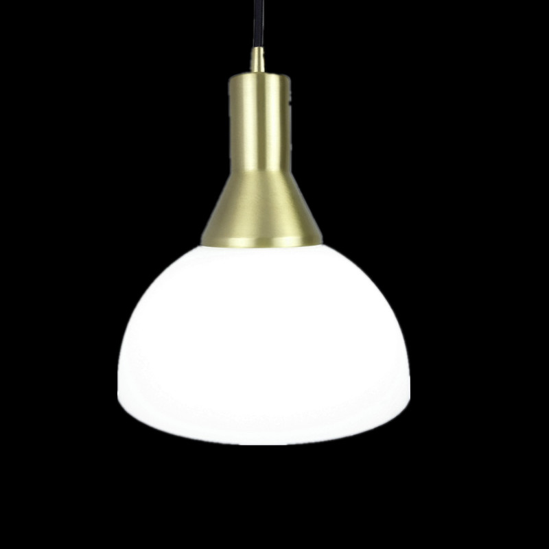 E27 All brass single head hanging light 100% pure copper material pendant lamp with white glass shade LED bulb lighting fixture e27 brass socket with copper lampshade fabric wire pendant lamp fixture quality brass lighting with led bulb for home decoration