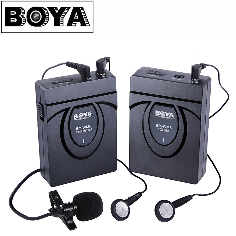 BOYA BY-WM5  Wireless Lavalier Lapel Microphone System for DSLR Camera Camcorders Audio Recorder