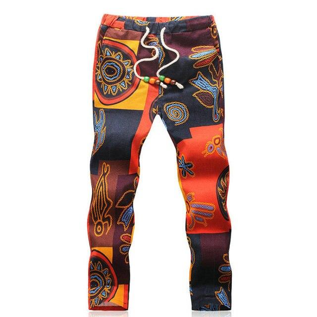 Новый 2017 Мода Высокого качества Хлопок Повседневная Гавайский Мужчины Брюки Pantalon Homme Размер M-5XL
