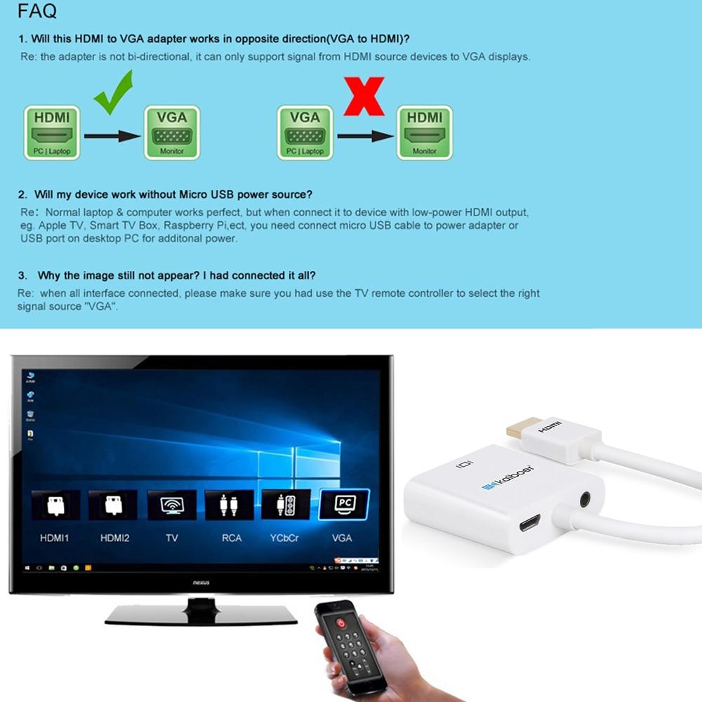 Kaiboer 1080P HDMI to VGA adapter digital to analog audio converter ...