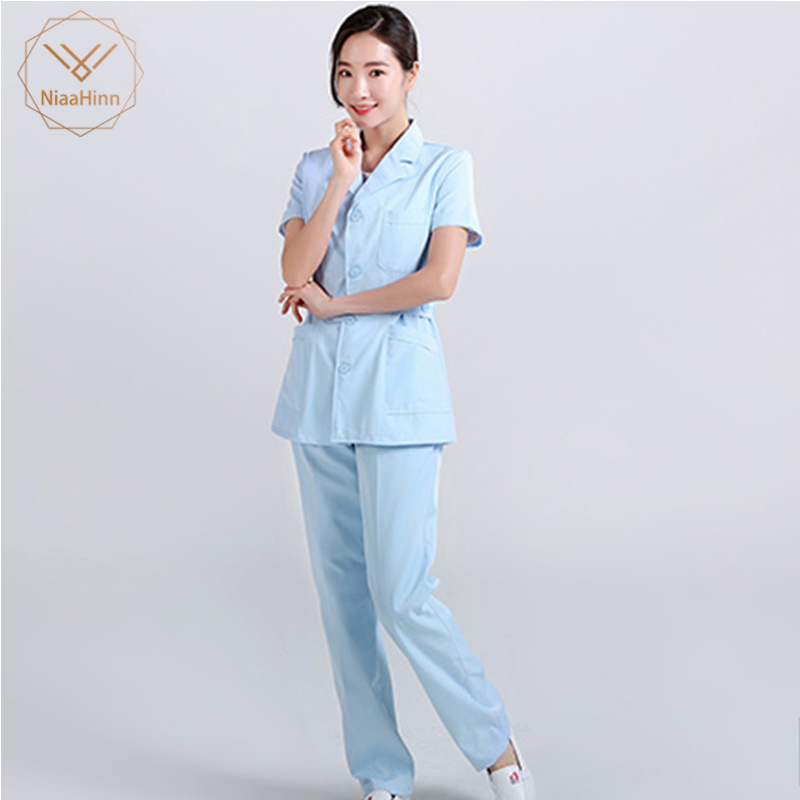 Nursing Uniform Scrubs Robe Hospital Medical Clothing Solid Color For Women Summer Winter Cotton Soft Fabric Nurse Coat +pant