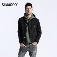 SIMWOOD Brand 2018 New Autumn Black Jackets Men Fashion Casual Denim Jacket For Men Coats Male Embroidered Outerwear 180469