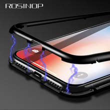 ROSINOP Strong Suction Aluminum Magnetic Case For iphone xs max xr x 6 7 8 Screen Protector Transparent 9H Tempered Glass Cover