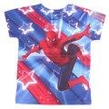 Novo 2017 Oferta Especial Regular T-Shirt Dos Meninos 100% Poliéster Spiderman T-shirt Dos Miúdos T-shirt das Crianças de Manga Comprida de Verão Partes Superiores Legal